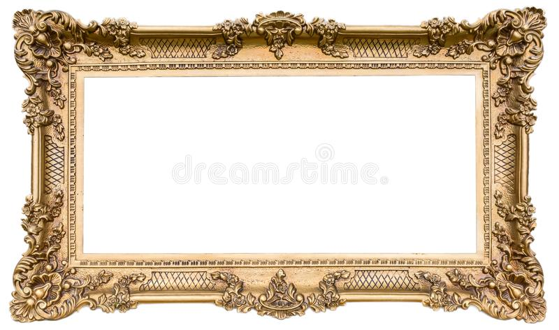 Ornate golden wooden frame as an isolated original royalty free stock photo