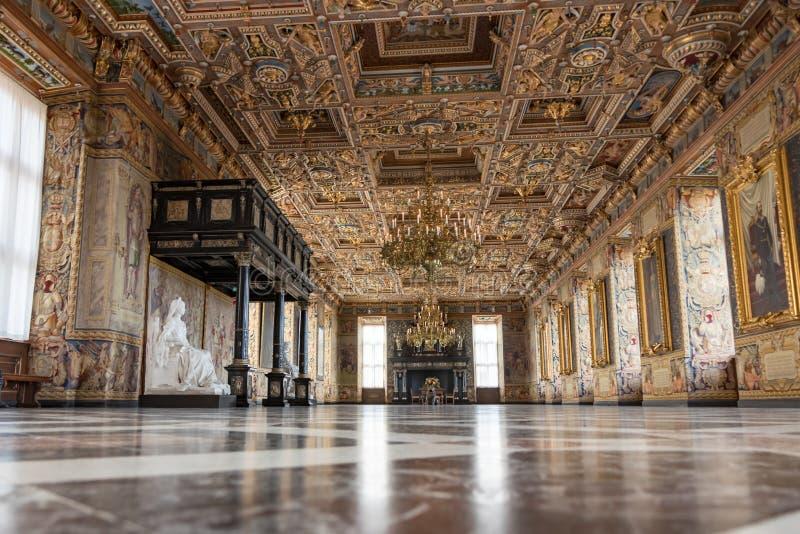 Ornate Great Hall nel castello di Frederiksborg in Danimarca fotografia stock libera da diritti