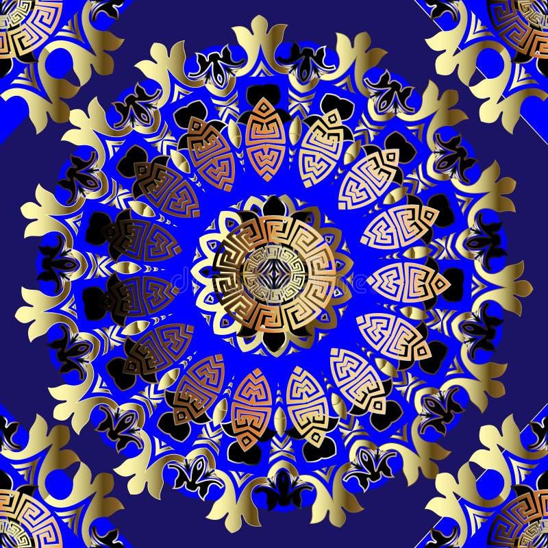 Ornate greek vintage seamless mandalas pattern. Blue ornamental luxury geometric background. Repeat floral backdrop. Ancient royalty free illustration