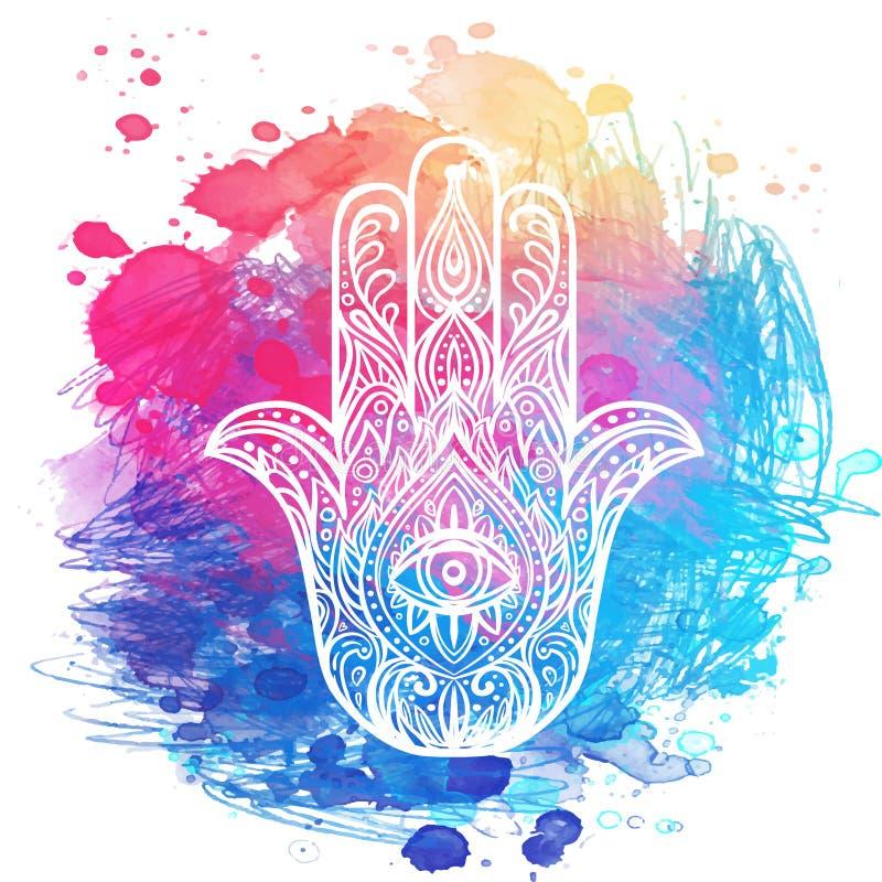 Ornate hand drawn hamsa. Popular Arabic and Jewish amulet. Vector illustration over colorful watercolors royalty free illustration