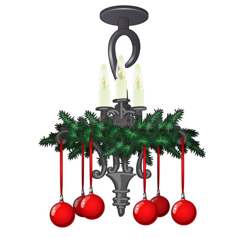Ornate hanging chandelier with christmas decorations and baubles isolated on white background. Sample of holiday poster. Card, party invitation. Vector cartoon stock illustration