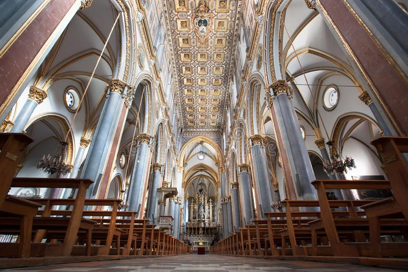 Ornate interior of Chiesa di Sant`Angelo a Nilo, Neapel, Italien royaltyfria foton