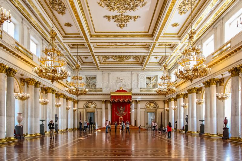 Ornate interior of the imperial throne room in the State Hermitage museum of art and culture in Saint Petersburg, Russia. Saint Petersburg, Russia - October 4 stock photos