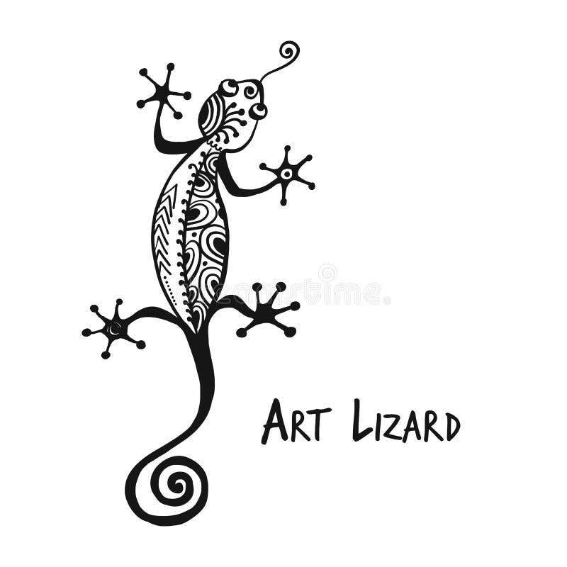 Ornate lizard black isolado em branco para o seu design ilustração royalty free
