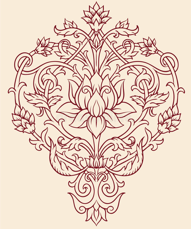 Download Ornate Lotus Flower stock vector. Image of orient, filigree - 33176534