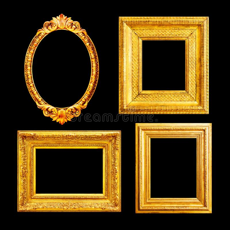 Ornate luxury gilded frames stock images