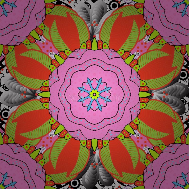 Ornate, mandala wschodnia z kolorowym obrysem ilustracji