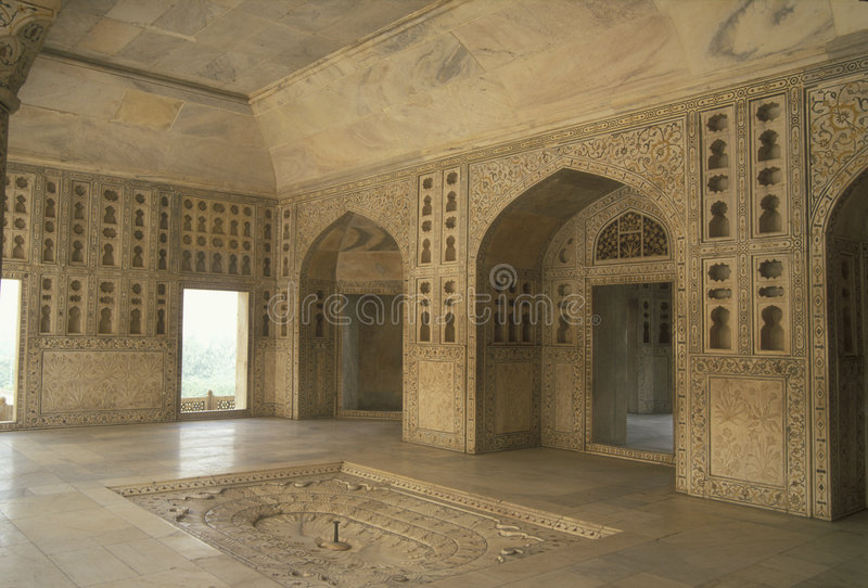 Ornate Marble Fountain. Ornate marble pavilion with fountain (Mussaman Burj). Red Fort, Agra stock images