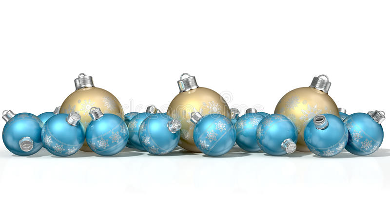 Ornate Matte Gold And Blue Christmas Baubles. A collection of a mix of small and large matte gold and blue christmas baubles decorated with fine ornate snowflake royalty free illustration