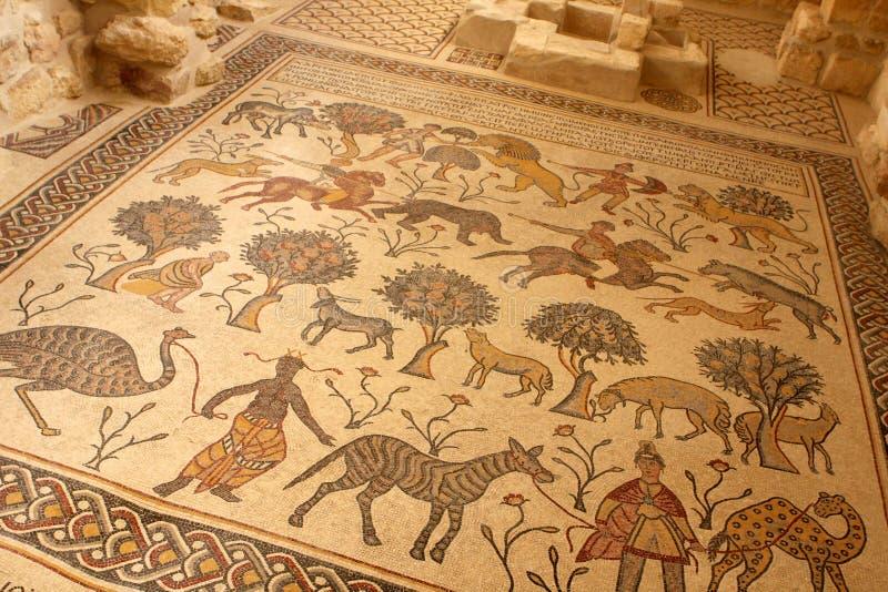 Mosaic, Nebo Mountain in Jordan. Ornate mosaic in the Memorial Church of Moses at Mount Nebo, Jordan royalty free stock image