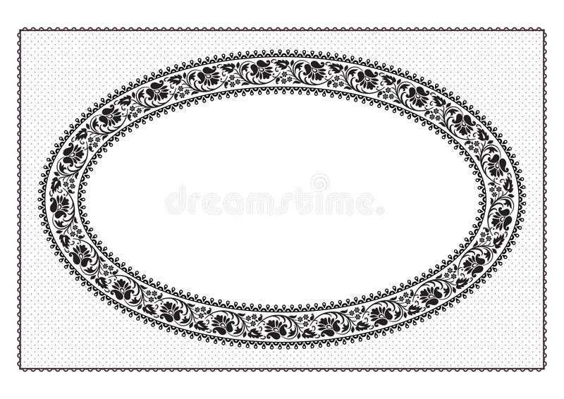 Ornate oval black floral framework and texture. For announcement, label, card. Patterns are included in vector file. Ornate oval black floral framework and stock illustration
