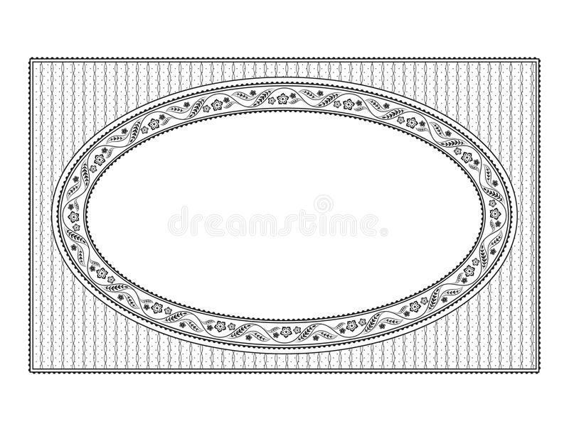 Ornate oval black floral framework and texture. For announcement, label, card. Patterns are included in vector file vector illustration