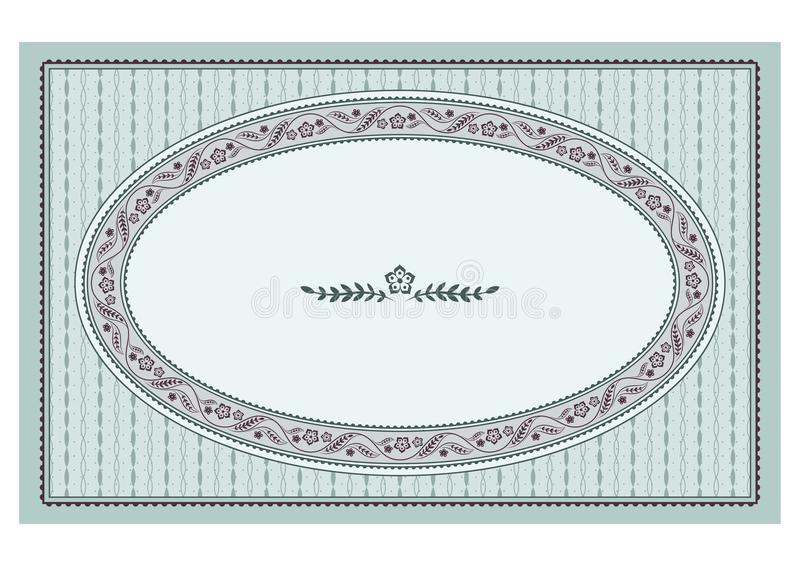 Ornate oval floral framework and texture. For announcement, label, card. Retro style. Patterns are included in vector file royalty free illustration