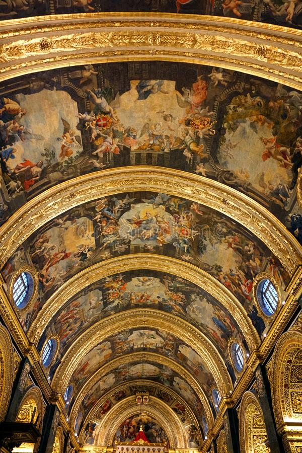 Ceiling of Saint John's Co-Cathedral, Malta royalty free stock image