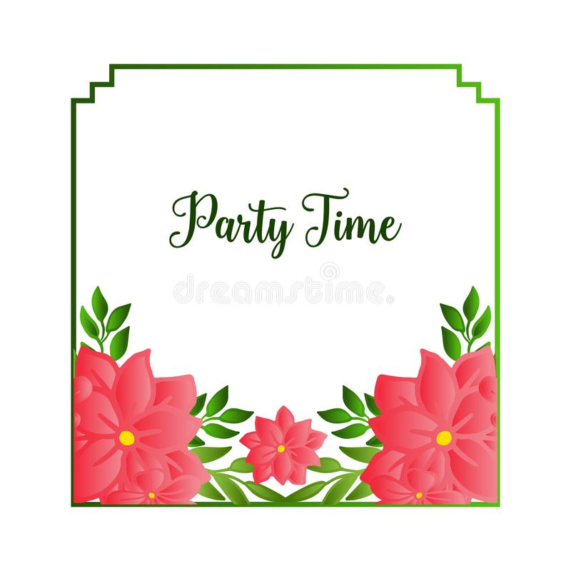 Ornate of party time card, with cute floral frame, isolated on white backdrop. Vector. Illustration stock illustration