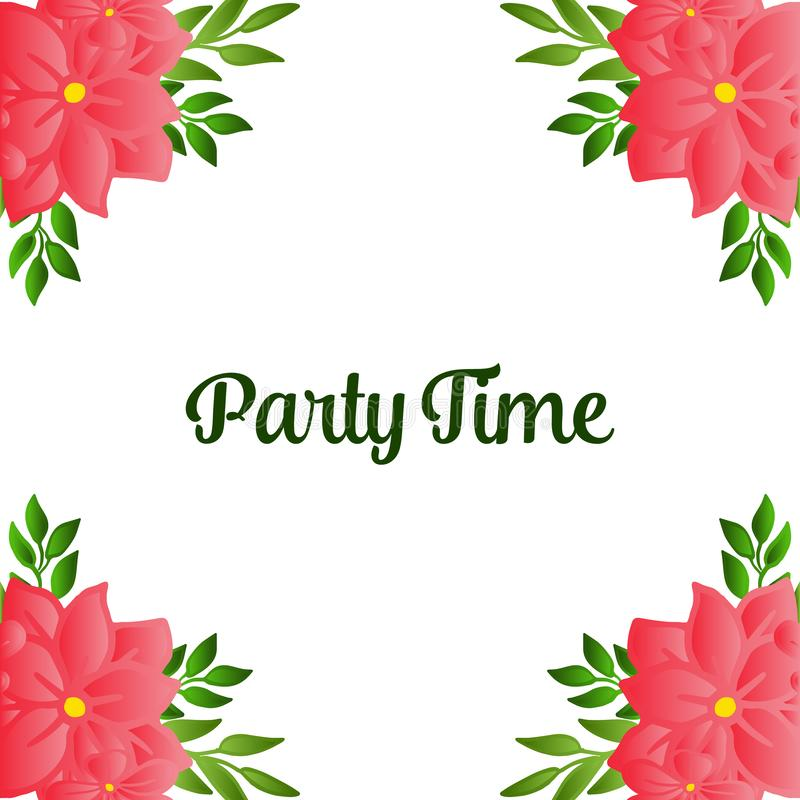 Ornate of party time card, with cute floral frame, isolated on white backdrop. Vector. Illustration royalty free illustration