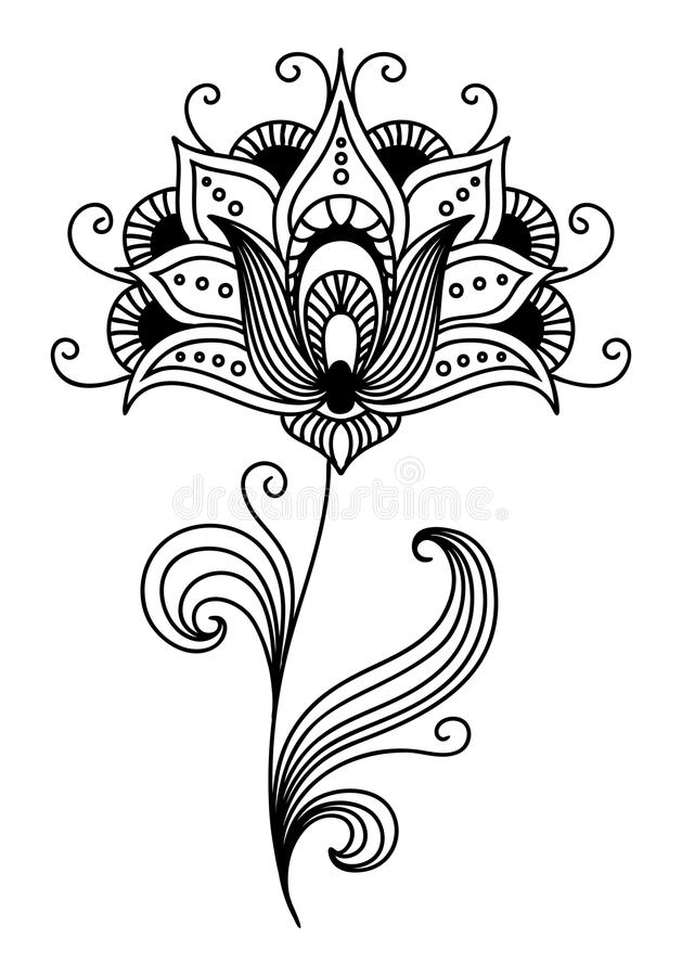 Ornate persian floral design stock vector illustration of ornate persian single flower design with pretty curling petals and tendrils and swirling leaves vector illustration mightylinksfo