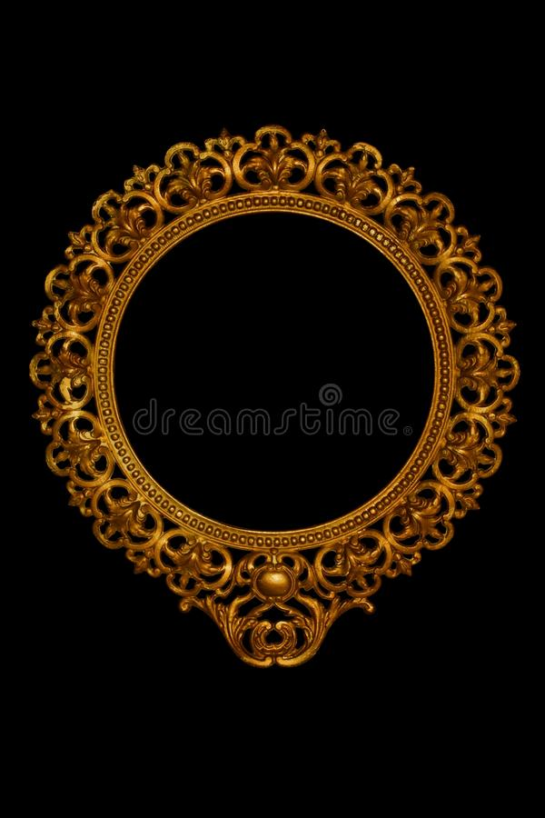 Ornate picture or mirror frame. Ornate antique brass picture or mirror frame royalty free stock image