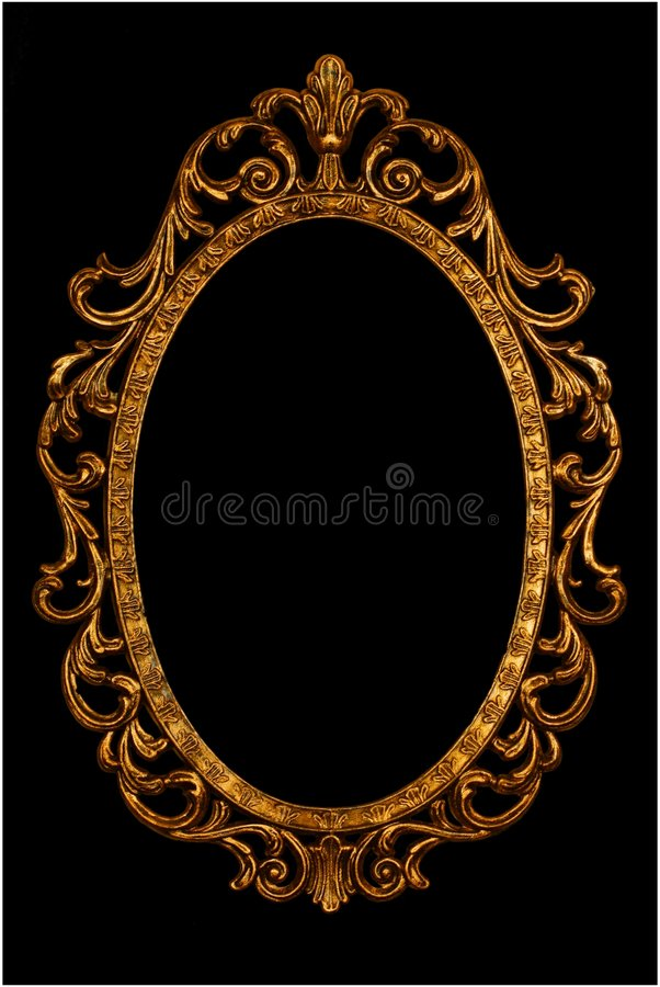 Ornate picture or mirror frame. Isolated on black stock image