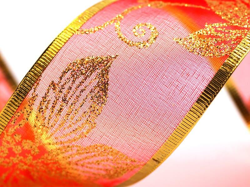 Ornate Red Gift Ribbon Royalty Free Stock Image