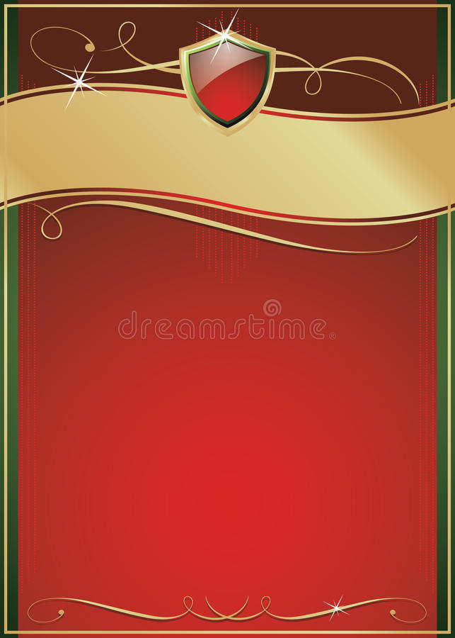 Ornate Red, Green & Gold Page with Shield royalty free illustration