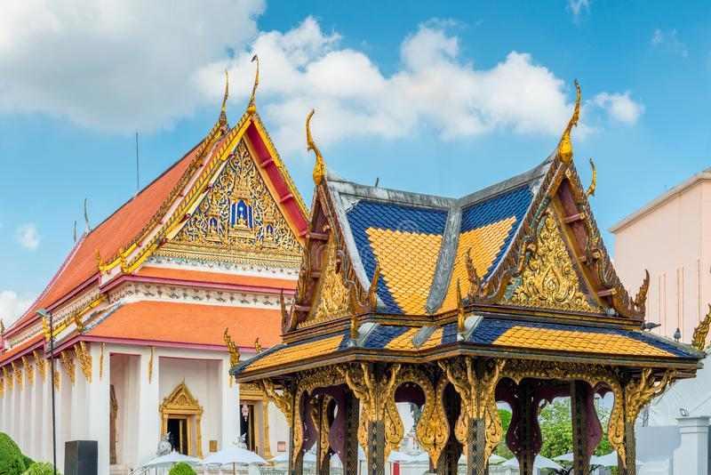 ornate roofs of buildings and temples in the royal palace in Thailand, Bangkok stock photo