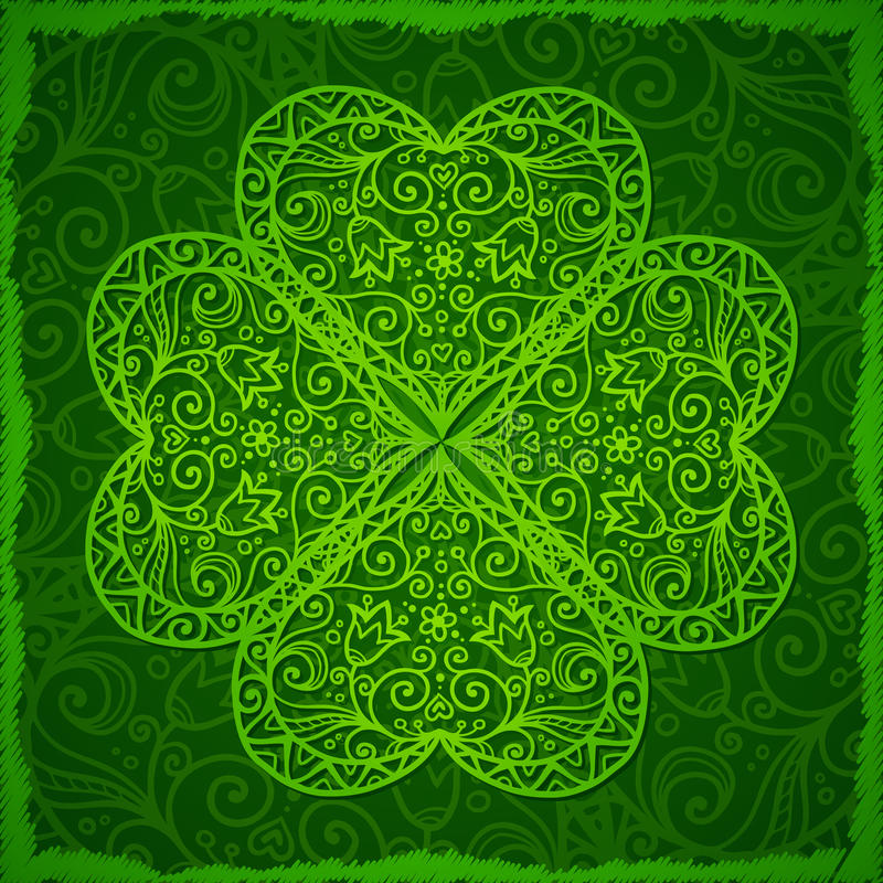 Ornate Saint Patrick's Day background with clover stock illustration