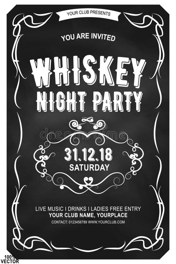 Ornate serif extended font in retro style. Scotch whiskey label. royalty free illustration