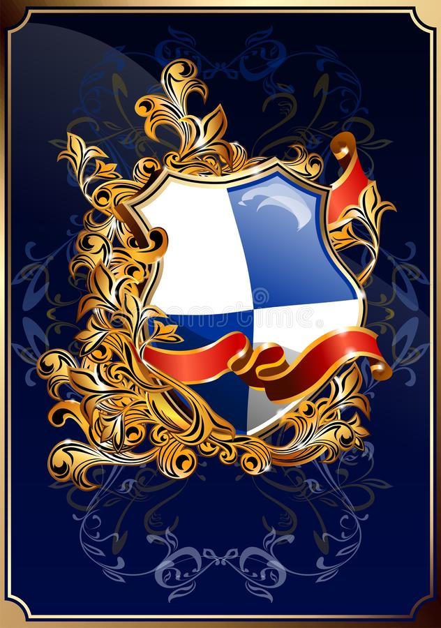 Ornate shield with ribbon. stock images