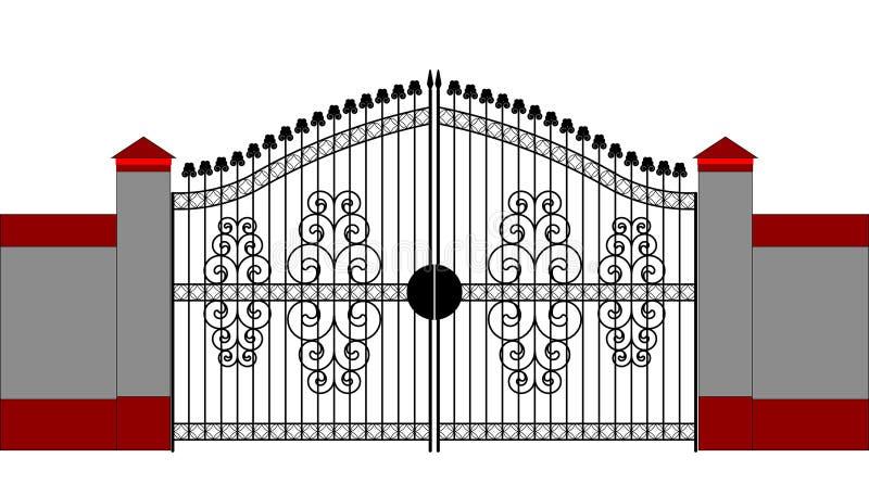 Ornate smart forged iron gate royalty free illustration