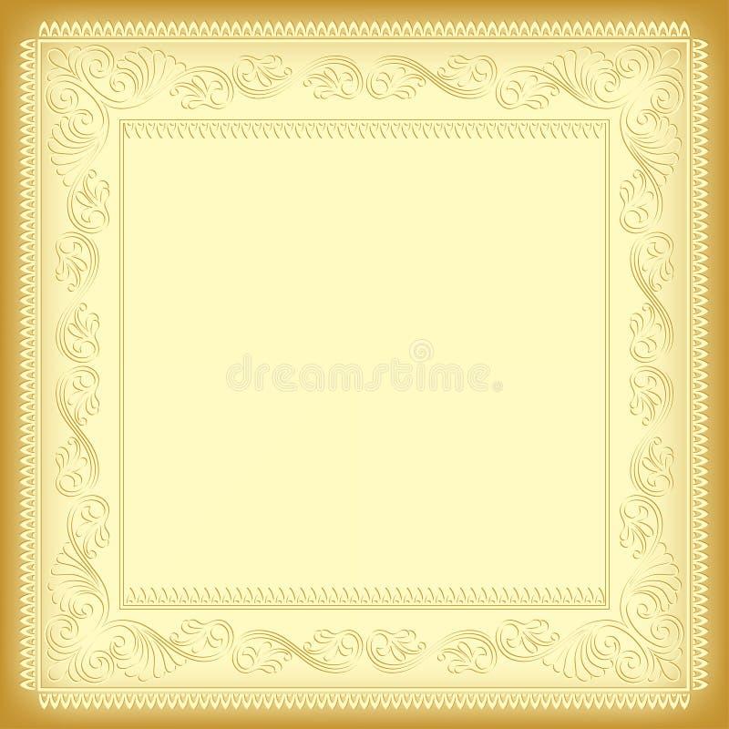 Ornate square framework. Ornate square framework, tints of yellow. Napkin pattern, decorative corners royalty free illustration