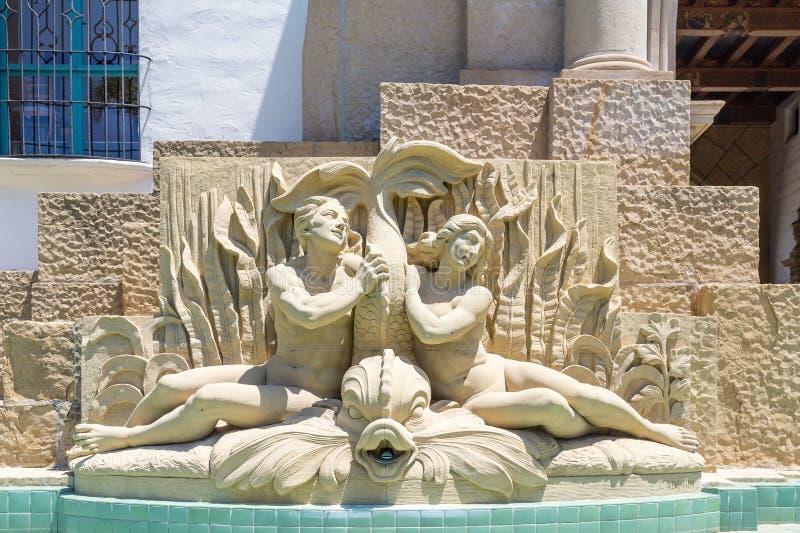 Ornate Statue and Fountain. In Santa Barbara stock image