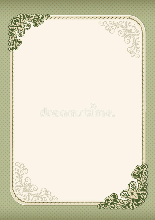 Ornate template for diploma, certificate, advertisement. Retro vintage style. Flourishes, polka dot background. A4 page format royalty free illustration