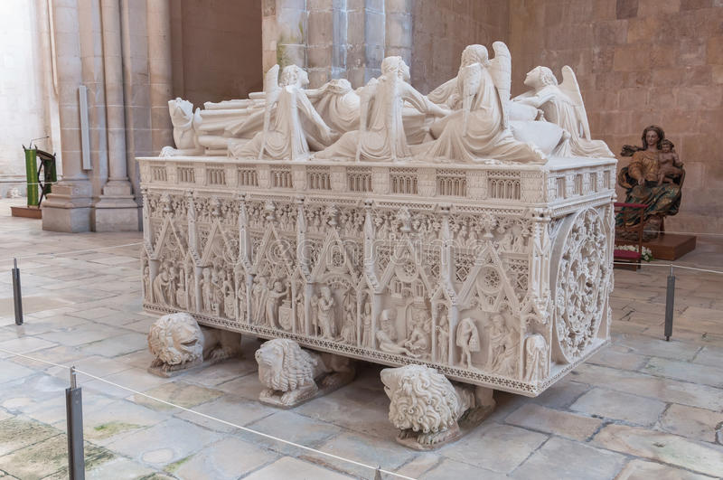 Ornate tomb of King Pedro I in Alcobaca Monastery stock photo