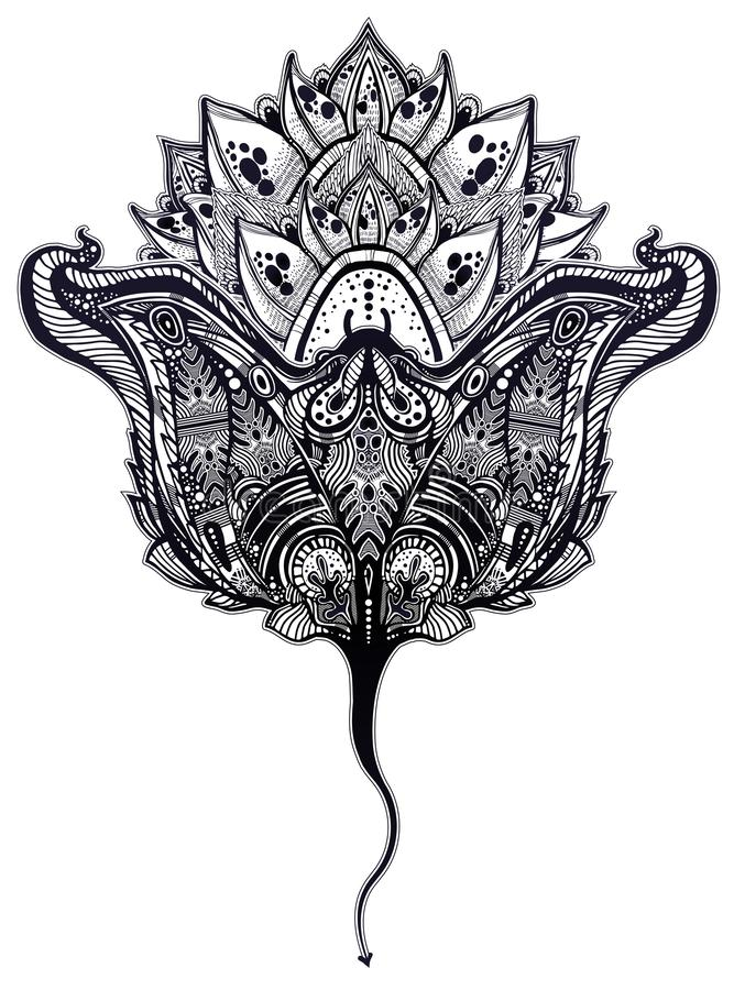 Ornate tribal stingray sea fish in indigenous Polynesian style with a lotus flower. Isolated vector illustration. Maori manta ray tattoo design vector illustration