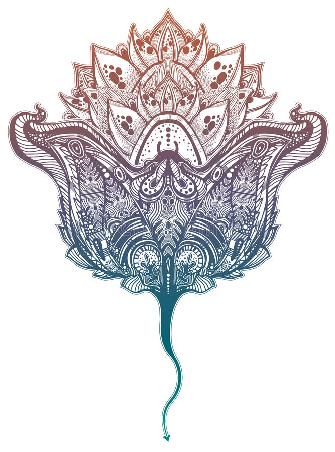 Ornate tribal stingray sea fish in indigenous Polynesian style with a lotus flower. Isolated vector illustration. Maori manta ray tattoo design royalty free illustration
