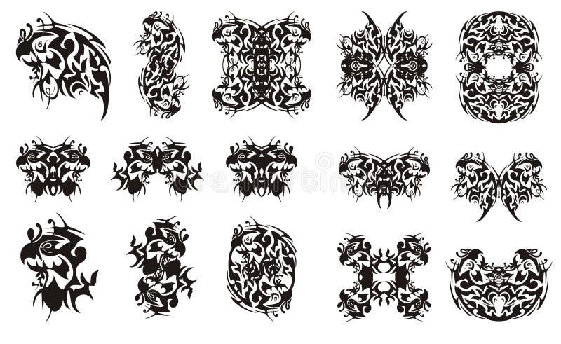 Ornate Unusual Tribal Parrot Symbols Stock Vector Illustration Of