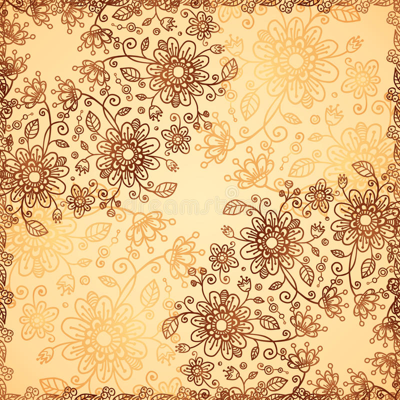 Ornate Vector Doodle Flowers Background Royalty Free Stock Image