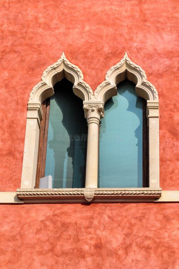 The ornate venetian-style window of the seventeenth century building Palazzo Moscardo along Via Camuzzoni, Soave stock images
