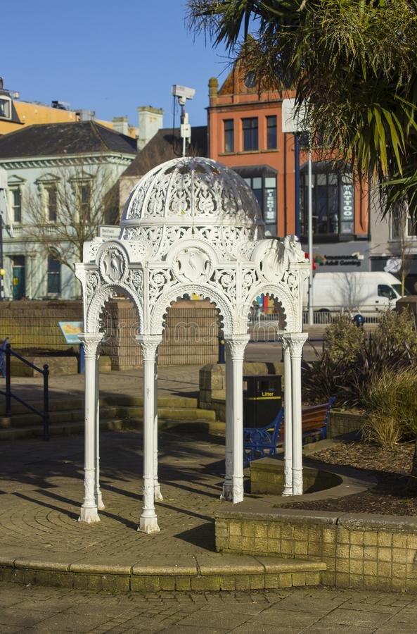 The ornate Victorian Fountain cast iron in the sunken gardens in Bangor County Down Northern Ireland on a sunny afternoo. The ornate cast iron Victorian Fountain stock photo