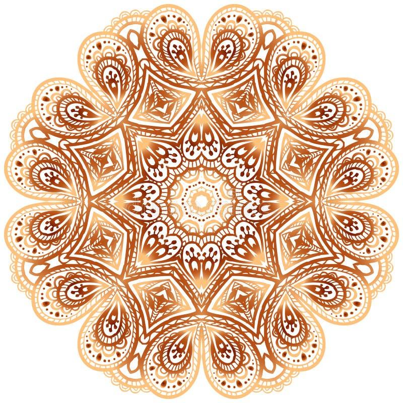 Ornate vintage beige vector doodle circle pattern stock image