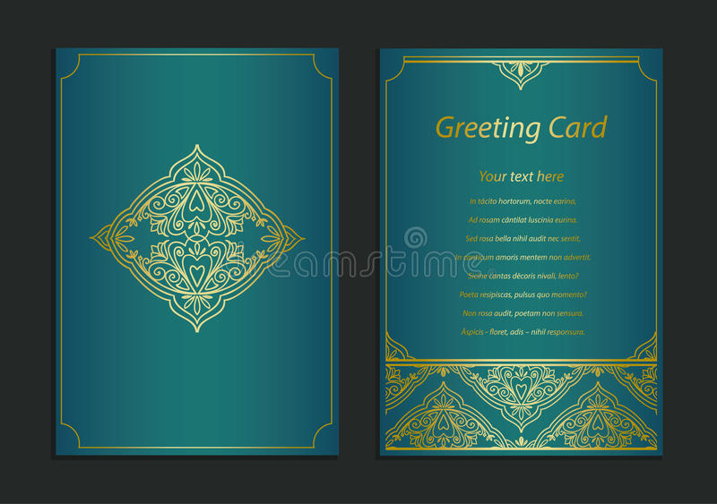 Ornate vintage cards. Golden decor. Template frame for save the date and greeting card, wedding invitation, certificate, leaflet, stock illustration