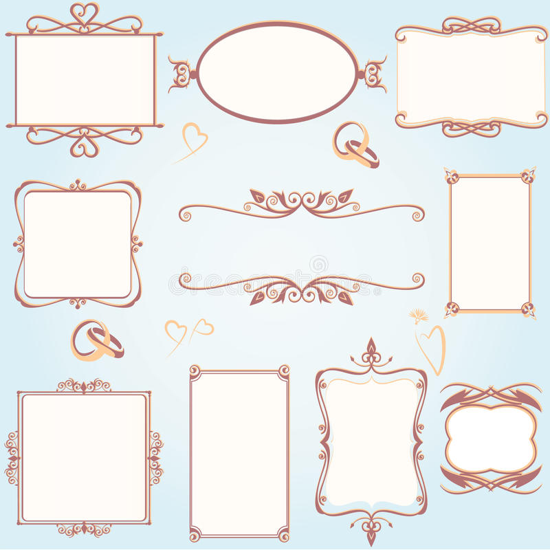 Ornate vintage frame set with wedding rings. With scrolls and flourishes royalty free illustration