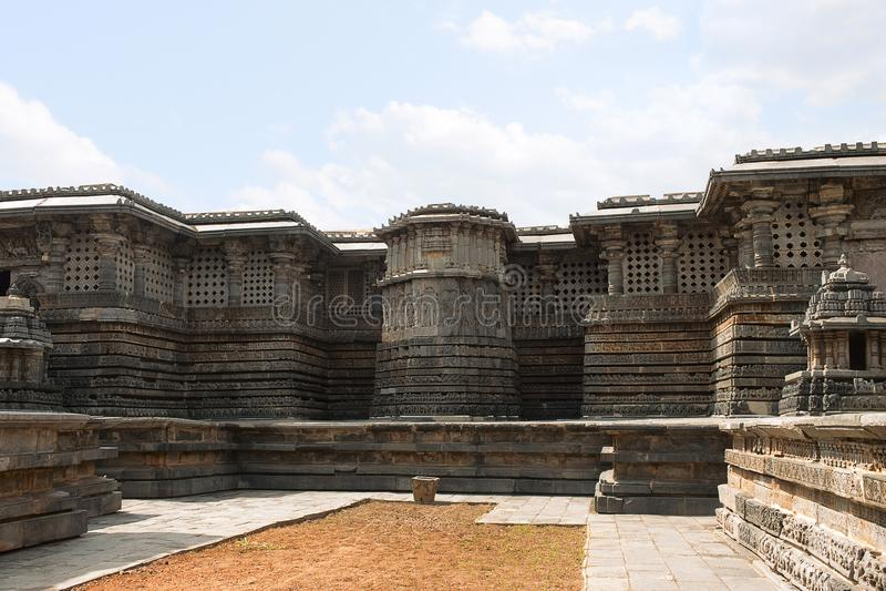 Ornate wall panel relief Hoysaleshwara temple. Halebidu, Karnataka, india. View from East stock image