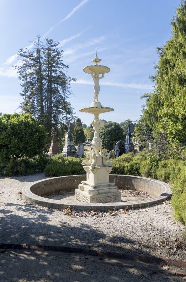 Ornate Water Fountain, Beechworth, Victoria, Australia. An ornate water fountain in the cemetery at Beechworth, Victoria, Australia stock images
