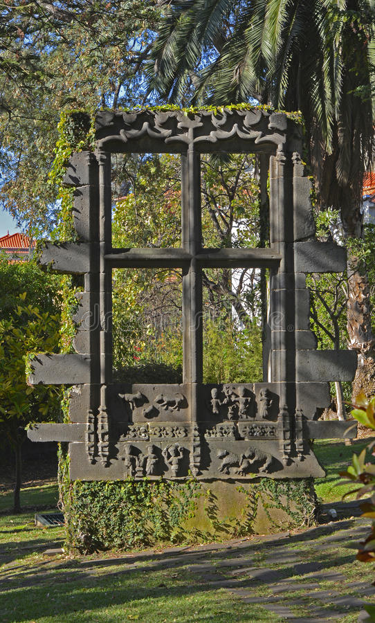 Free Ornate Window In Garden, Funchal, Madeira, Portugal Royalty Free Stock Image - 75282246