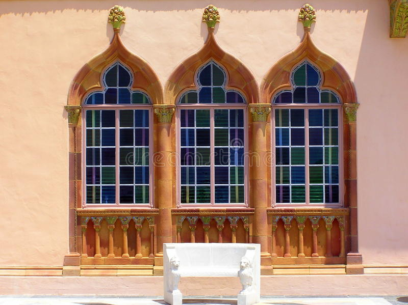 Ornate Venetian Gothic windows, Ringling Museum stock photos