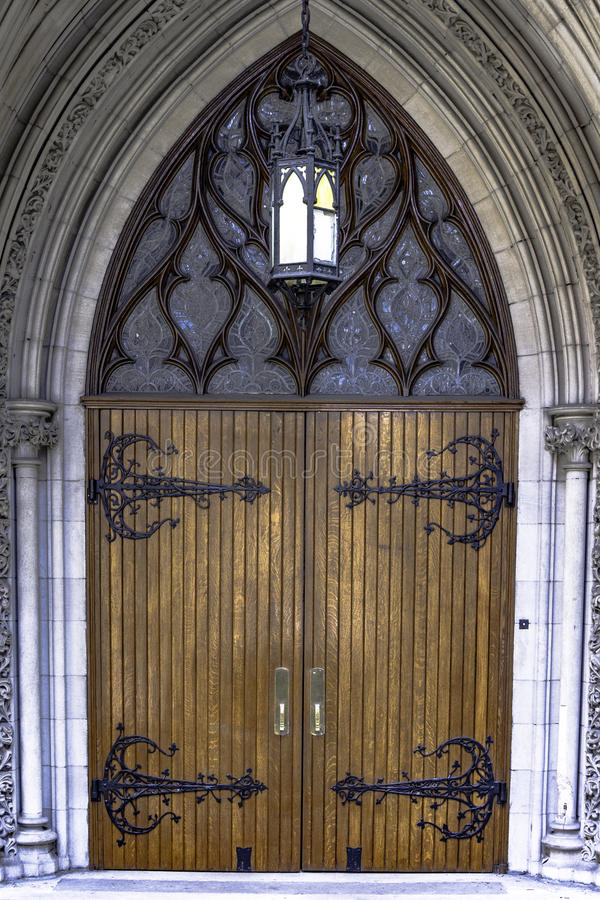 Ornate wooden doors royalty free stock images