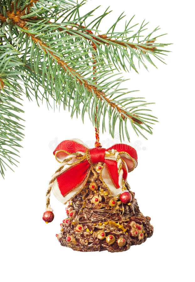 Download Ornate Xmas Bell On Fir Twig Isolated On White Stock Photo - Image: 27611588