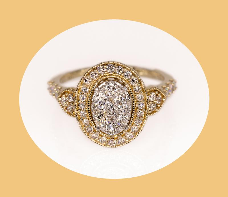 Ornate Yellow Gold And White Diamond Halo Ring royalty free stock images